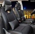 Marrón / negro de cuero de la marca cubierta de asiento de coche delantero y trasero completo asiento para Ford Focus Fiesta Kuga borde S-MAX fusión cojín del asiento de coche