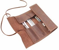 Junetree Genuine Leather Pen Pencil Case Holder Protective Carrying Box Bag Storage Container Yellow Brown