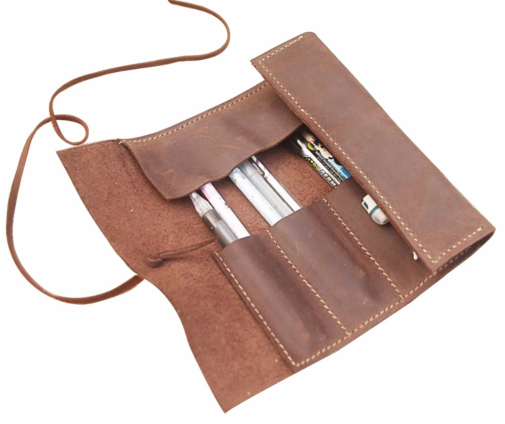 junetree genuine leather Pen Pencil Case Holder Protective Carrying Box Bag Storage Container yellow brown стоимость