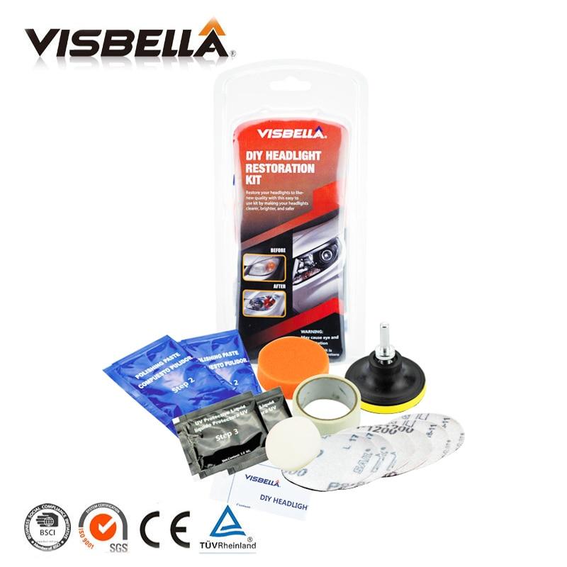 Visbella RTV Gasket Maker 85g High Temperature Silicone sealant glue and Headlamp Restoration Kit Fix Cloudy Oxidized Headlight
