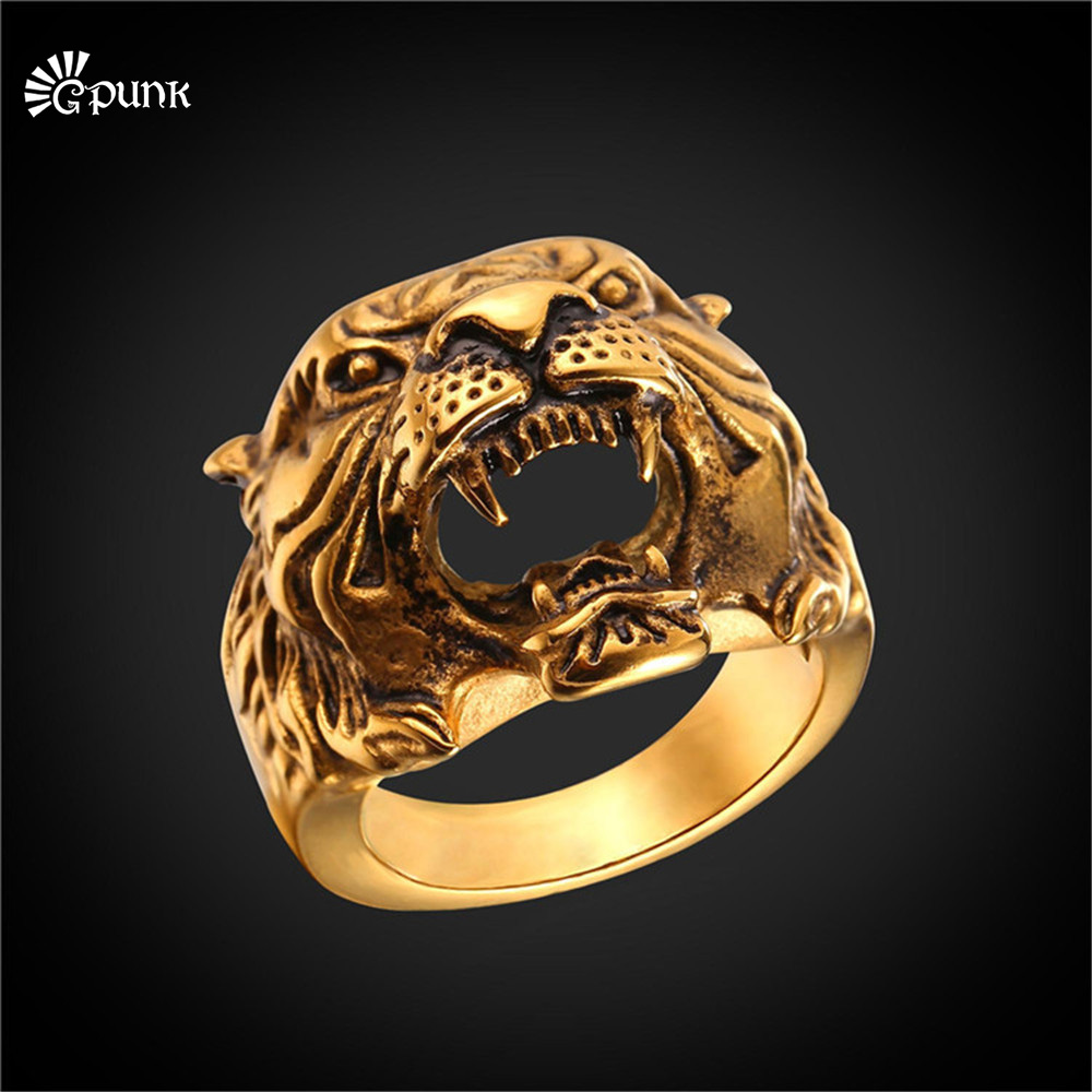 316L stainless steel antique tiger ring for men 2017 unique design gold plated mans ring animal jewelry R2466G hockey sock