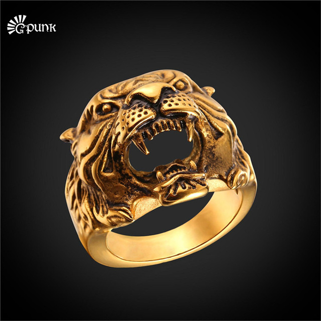 lychee gold silver item jewelry gothic titanium tiger biker ring color head rings punk steel