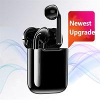 i12 Black technology Air plus Bluetooth 5.0 Earphone Sport Sweatproof Wireless fingerprint Touch Earbuds Binaural call