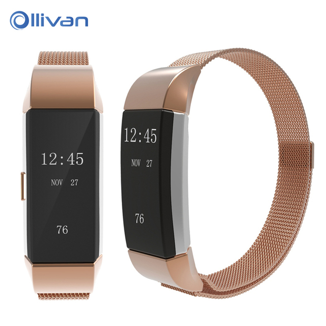 Ollivan Milanese Metal Wrist strap Bracelet Stainless Steel Band for Fitbit  Charge 2 band Men Woman Adjustable Closure Strap-in Smart Accessories from