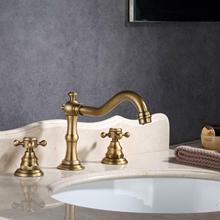 цена на Antique Brass 3 Holes Widespread Bathroom Basin Faucet Vanity Sink Tub Sink Mixer Tap KD1255