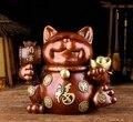 9 ''бронзовый медный минеральный пигмент для дома fengshui сокровище Фортуна кошка плютус кошка