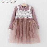 Humor Bear Children Clothing Dress 2017 Autumn Brand Baby Girls Lace Condole Belt Mesh Dress Kids