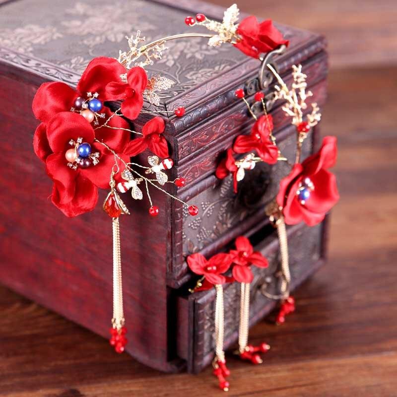 Red Chinese Style Crystal Flower Tassels Bride Headband Earrings Wedding Bridal Tiara Headpiece Hair Accessories Jewelry Set BH