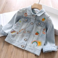 children jackets for girls coat Denim baby outerwear kids clothes embroidery rainbow fashion children's clothing boutiques