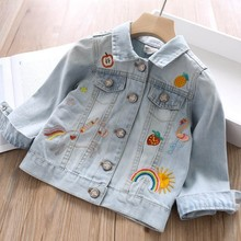children jackets for girls coat Denim baby outerwear kids clothes embroidery rainbow fashion childrens clothing boutiques