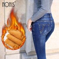 Nonis Vrouwen dikke fluwelen jeans vrouwelijke skinny stretch broek potlood broek dames winter warm denim sexy vrouwelijke midden taille jeans