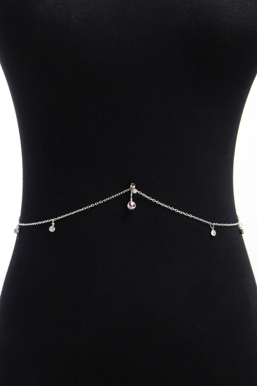 Chaîne De Corps Cristal Avec Anneau Nombril Piercing Bijoux De Femme