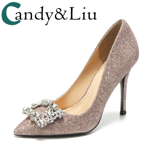 Wedding Shoes Women Bride s Shallow Light Pink Sequins Square Buckle Crystal  Stone Female High Heels 6cm 8cm 10cm Ladies Pumps 594aad2f2333