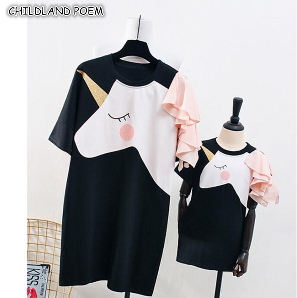 Mother Daughter Dresses Summer Unicorn Family Look Mom Daughter Dress Clothes Ruffle Sleeve Mommy and Me Family Matching Clothes bicycle hub light bike wheel lamp led bicycle decoration light waterproof shockproof cycling lamp bike accessories safetywarning