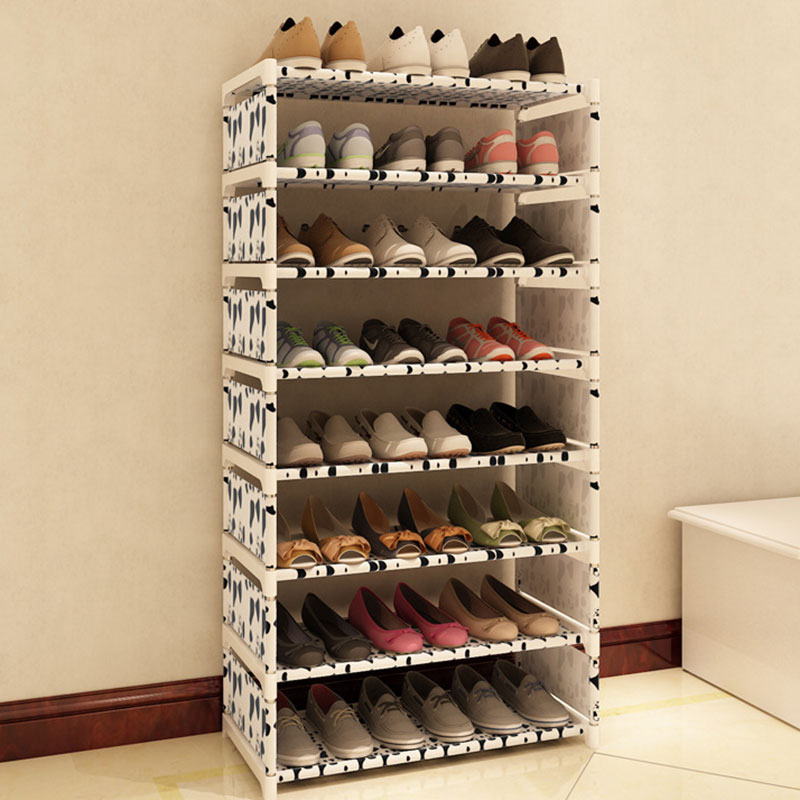 Eight Layers Metal Non Woven Cloth Simple Shoe Rack Space
