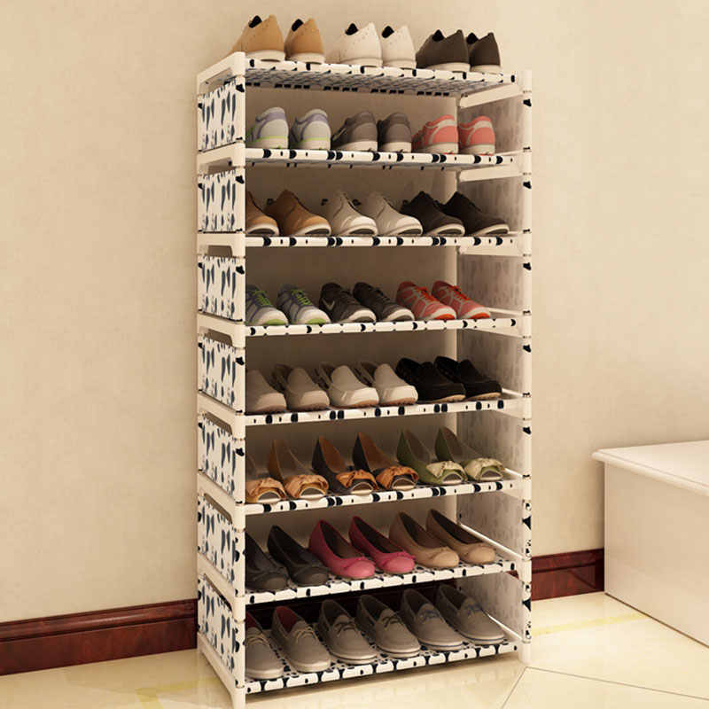 Eight Layers Metal Non Woven Cloth Simple Shoe Rack Space Saver Diy Shoes Shelf Shoes Storage Shelves Organizer Home Furniture