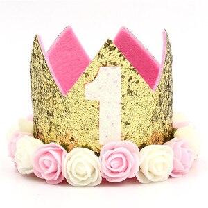 Cão de estimação festa de aniversário chapéus decoração chapéu de aniversário princesa coroa 1st 2nd 3rd ano para filhote de cachorro gatinho favores hairband