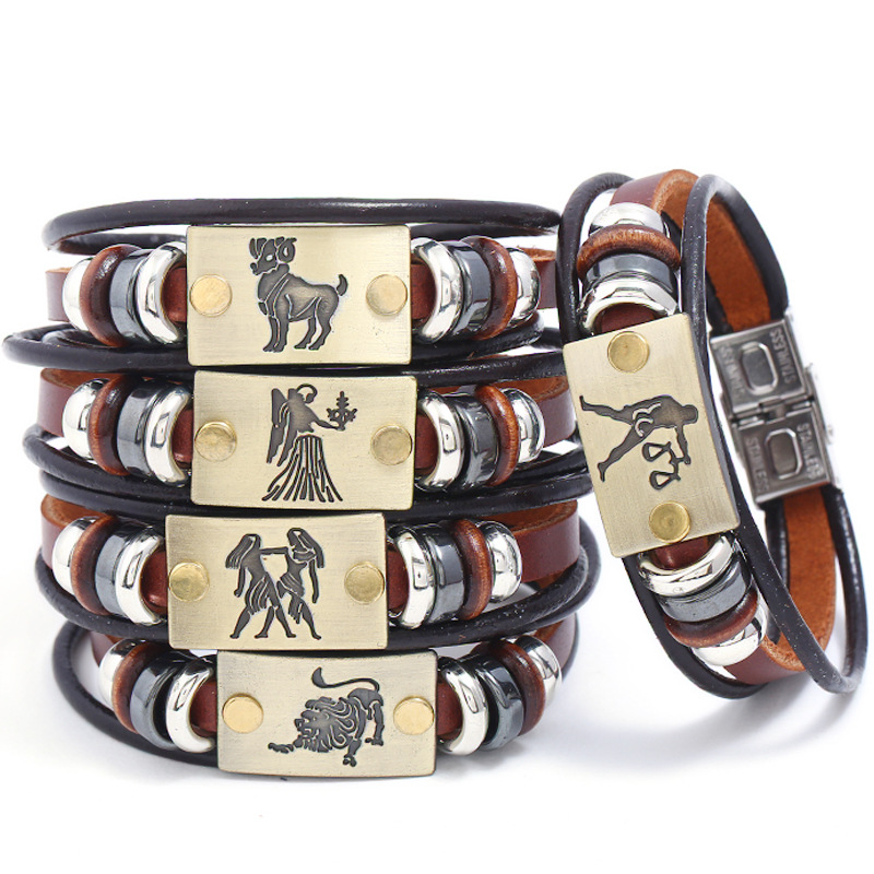 Men's Explosion Classic Fashion Trends 12 Constellation Alloy Accessories Stainless Steel Brown Leather Bracelet Factory Direct