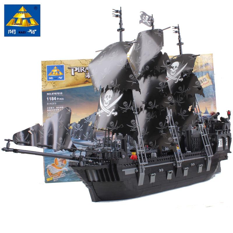 2016 Hot Sale Kazi KY87010 Black Pearl 1184pcs Building Block Pirates Of The Caribbean Ship Assembling