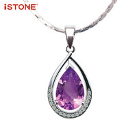 ISTONE 100 Natural Gemstone Amethyst Garnet Citrine 925 Sterling Silver Water Drop Pendant Necklace Fine Jewelry