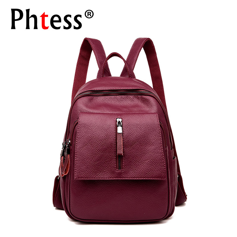 купить 2018 Women Leather Backpacks Vintage Shoulder Bag Travel Bagpack Sac a Dos Female Backpacks For Girls Mochilas Back Pack Ladies по цене 1459.61 рублей