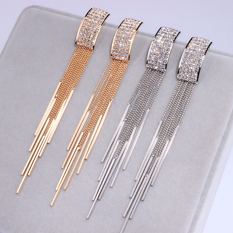Uus kuldne värv pikk kristalli varrukatega kõrvarõngad naiste - Mood ehteid - Foto 5