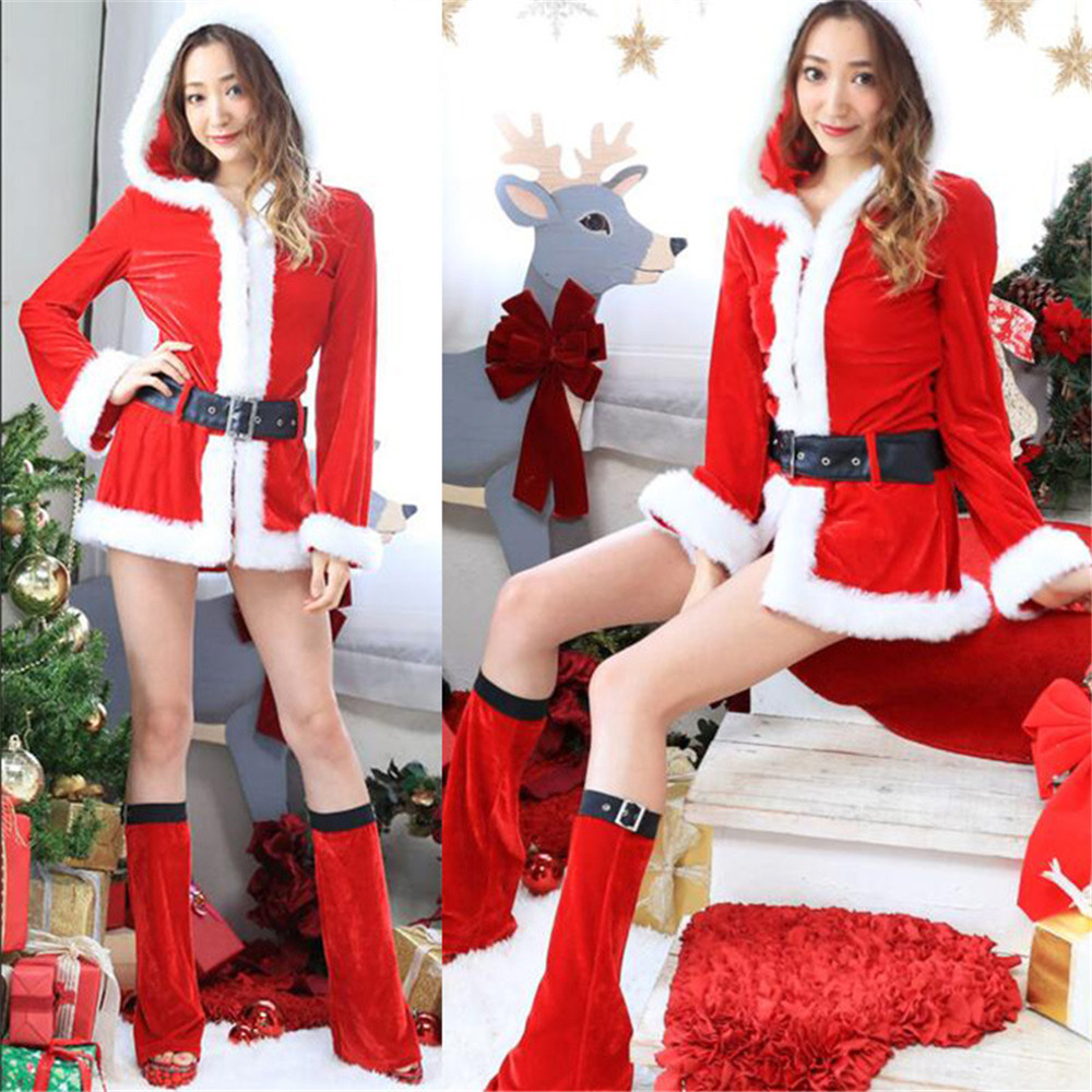 Christmas Dress Women Christmas Costume For Adult Red Velvet Fur Dresses Hooded Sexy Female cosplay Santa Claus Costume