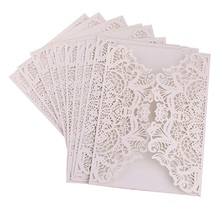 100pcs Laser Cut  Invitations Card Cover Lace Hollow Greeting Cards Invites Party Favors 6 Colors