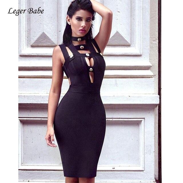 Leger Babe 2018 Summer Dresses Women Deep V Neck Bandage Dress Sleeveless  Button Backless Black Party Dress Sexy Bodycon Vestido b87442607
