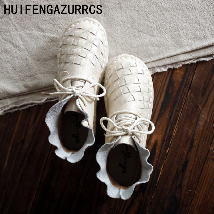 HUIFENGAZURRCS Genuine leather shoes Pure handmade ankle boot The retro art mori girl shoes Reaationary knit