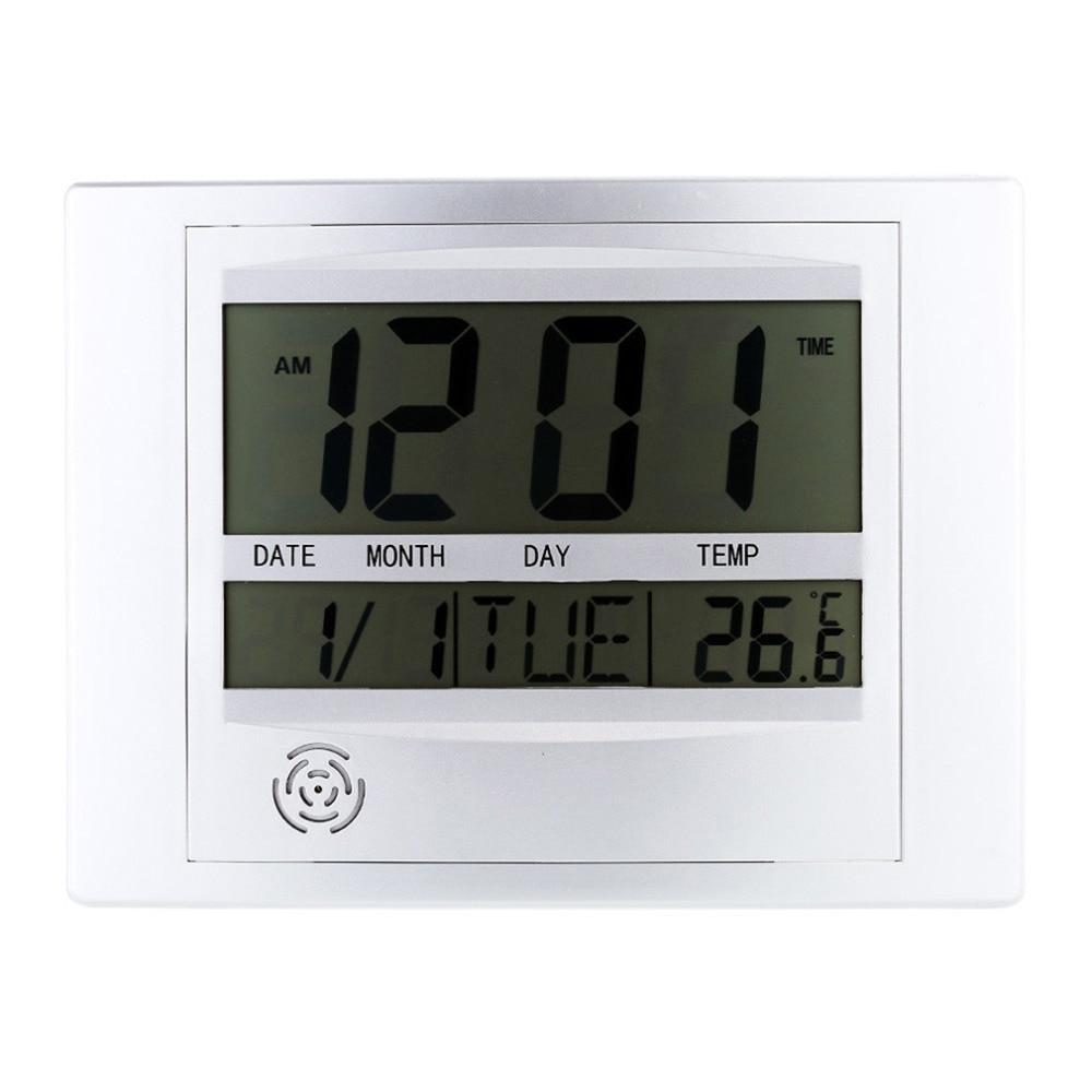 Electric Wireless font b Digital b font LCD Display Desk Clock Wall Clock font b Thermometer