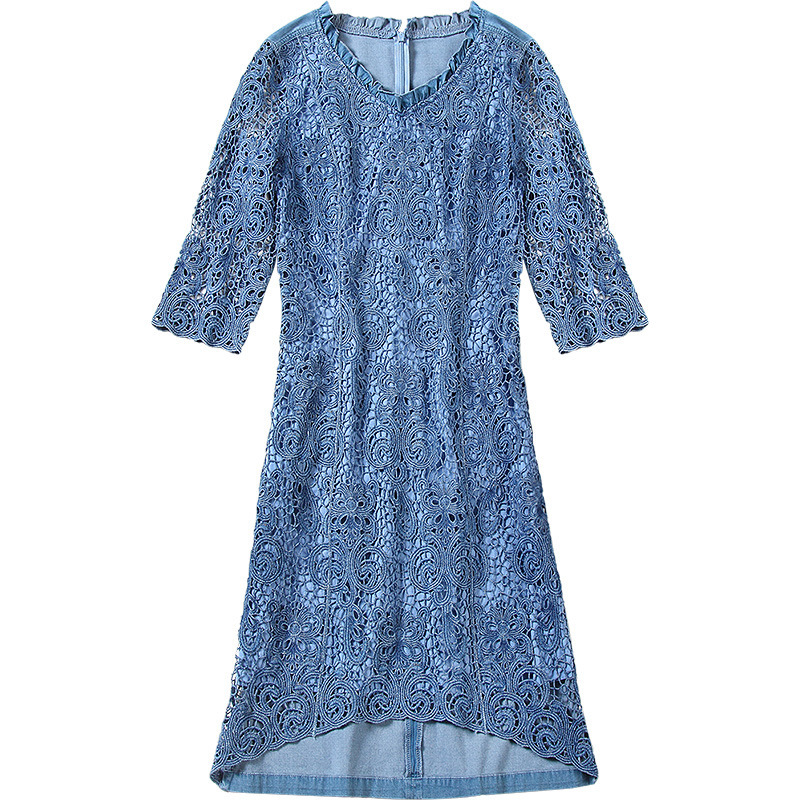 Nordic style large size women 39 s summer dress dating party dress lace dress summer thin denim dress NW18B1988 in Dresses from Women 39 s Clothing