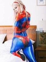 MJ Jamie Spiderman Costume Spandex Print Mary Jane Girl Cosplay Costume Lady Superhero Zentai suit Custom Free shipping