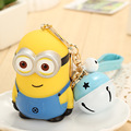 Healthy Environmental Protection Resin Cartoon Toy Minion Little Bell Keychain Keyring For Bag Charms Car Pendant Children Gift