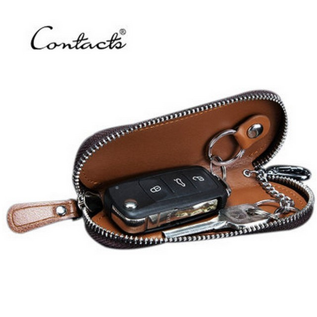 Classic New Double Zipper Men's Genuine Cow Leather Car Key Holder Multifuncation Housekeeper High Class Motor Keys Case Wallets