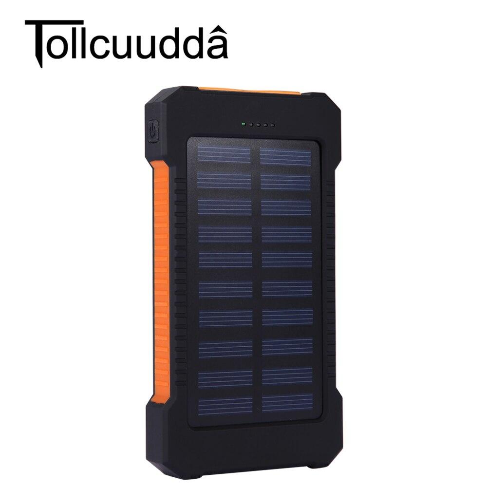 imágenes para Tollcuudda Impermeable 10000 Mah Banco de la Energía Solar Cargador Solar Dual USB Banco de la Energía con la Luz LLEVADA para el iphone para Samsung teléfonos