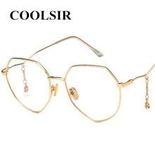 COOLSIR 2019 New Fashion Five-pointed Star Pendant Flat Mirror Retro Polygon Glasses Frame Irregular Ladies Metal