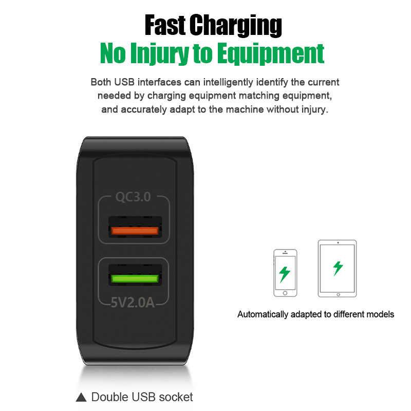 Adaptador de cargador USB Dual de 3,0 28W QC 3,0 de carga rápida para teléfono móvil de pared de viaje de la UE iPhone Samsung Xiaomi