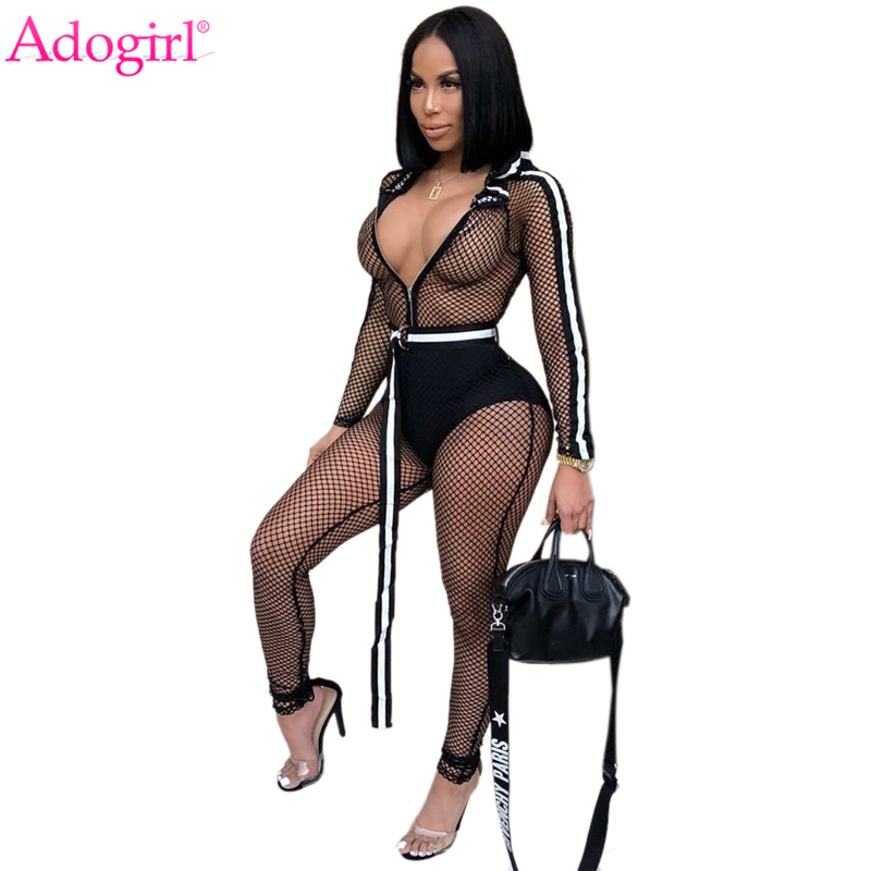 Adogirl Fishnet Side Stripe Hooded Jumpsuit With Belt Zipper Up Long Sleeve Sexy Sheer Club Rompers Women Overalls Playsuits
