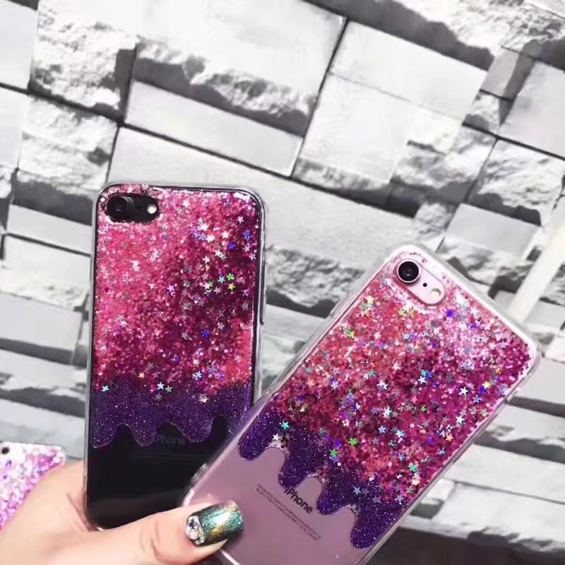 Pink Glitter Shining Bling Sparkle Ice Cream Melts Soft Clear Phone Cases For Iphone 6 6s 6 plus 7 plus Case Back C