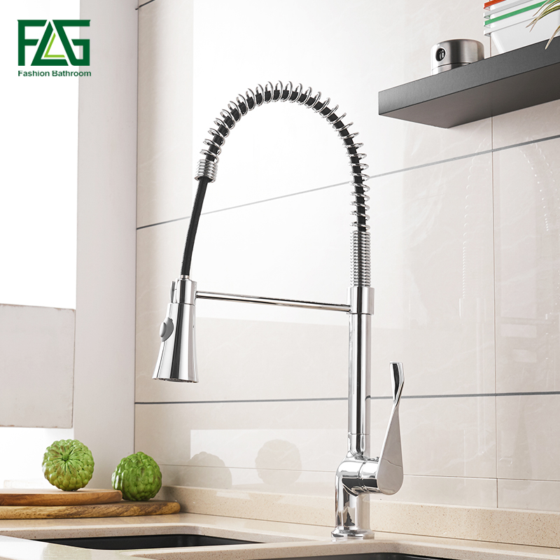 цена на FLG Kitchen Faucet Chrome Brass Deck Mount mixer Sink Faucet Pull Out Spray Single Handle Swivel Spout Mixer Tap 988-33C