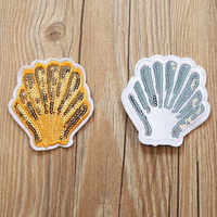 DOUBLEHEE Gold Sliver Shellfish Patches Embroidered Iron On Patch For Clothing Sticker Paste For Clothes Bag Pants