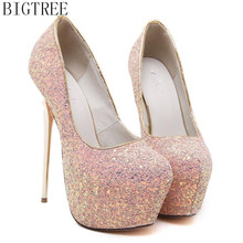 BIGTREE Fashion Women Platform Shoes 2017 New Spring Autumn Bling Pumps 16CM Thin Heels Sexy Slim Party High
