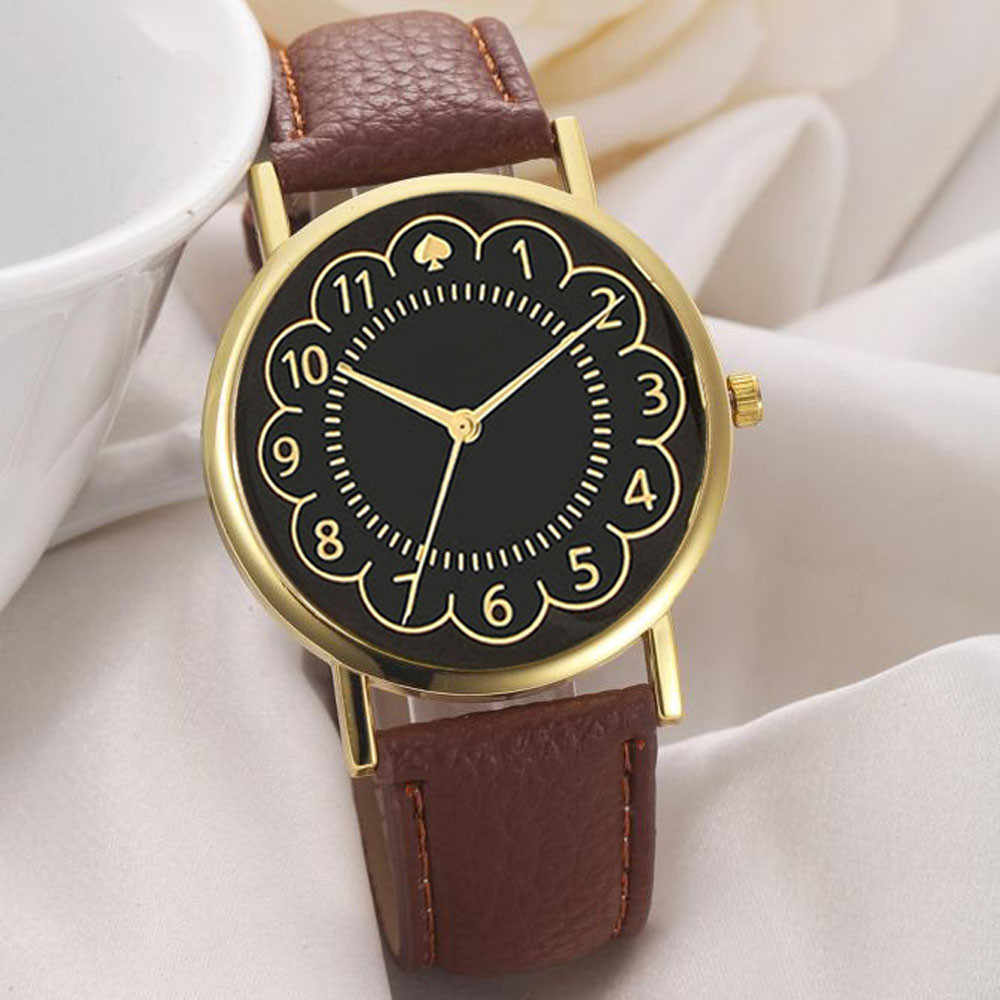 Retro design Women Leather Band Analog Quartz Watches Wrist Girls Fashion Brown Clock 2019 NEW Женские часы Reloj de dama Wd3