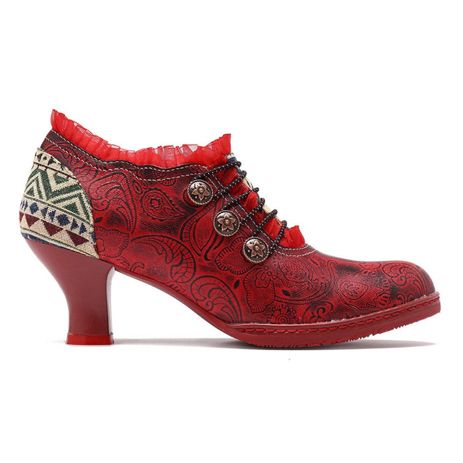Wine Glasses Women Pumps European Vintage Hand Genuine Leather Shoes Embossed Stitching Spanish Style Four Seasons Women's Shoes (22)