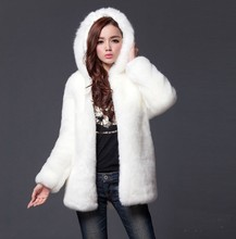 Women medium-long Fur Coat Faux Rabbit hair Overcoat  with Hooded Winter Thick Warm Coat  Female Outerwear