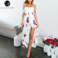 Lily Rosie Girl Strapless Lace Up White Dress Print Floral Boho Beach Dress Sexy Maxi Summer Dresses Vestidos