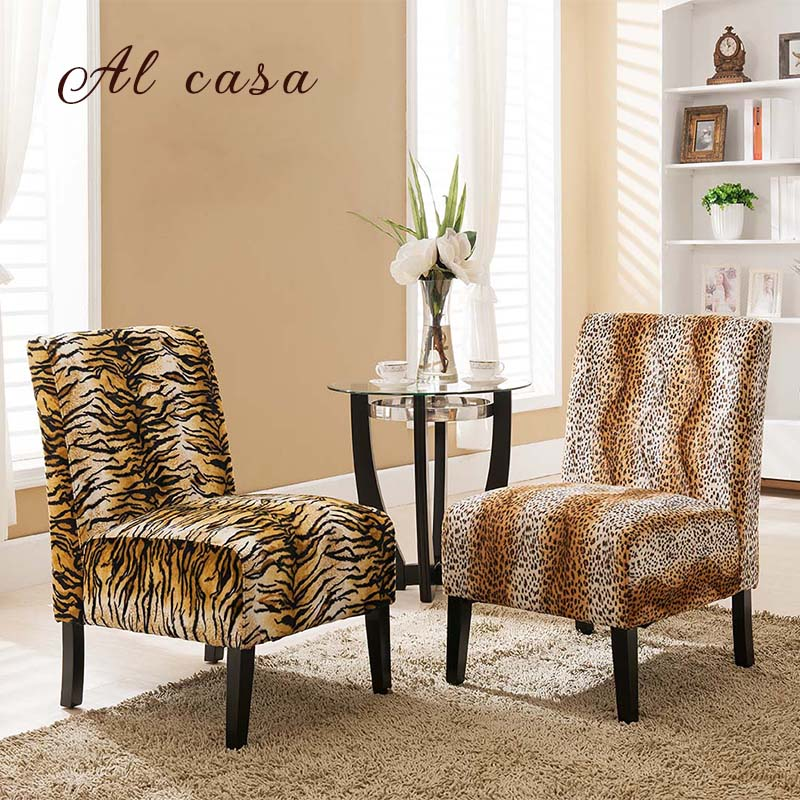 single sofa chair solid wood frame Flannel cover seater leopard print,zebra,tiger pattern цена