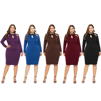 New Ladies Plus Size Dress Hollow Out Long Sleeve Elegant Dress Hip  High Elastic Solid Fashion Plain Color Casual Dress