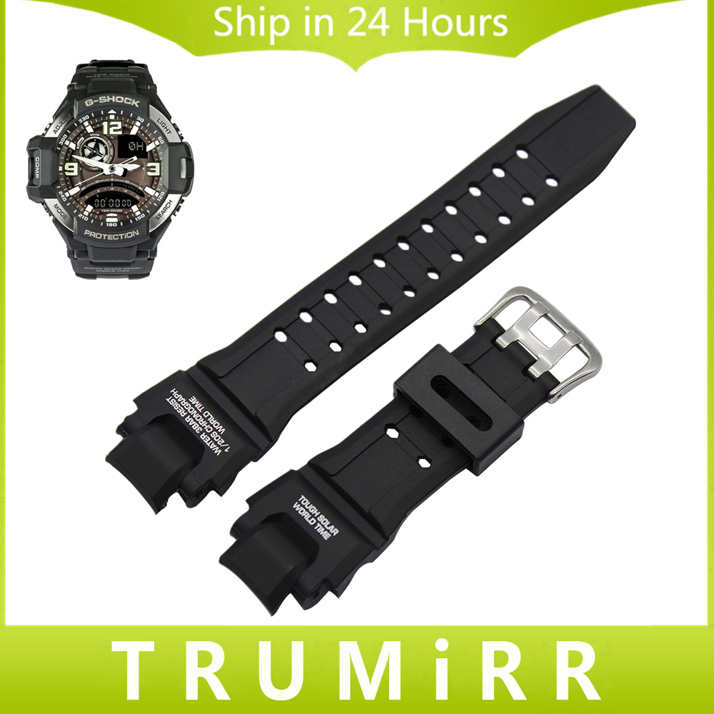 Silicone Rubber Watch Band 22mm x 27mm Convex Strap for Casio G shock G 1400 GA